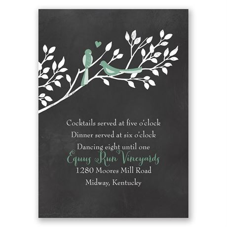 Chalkboard Lovebirds  Reception Card