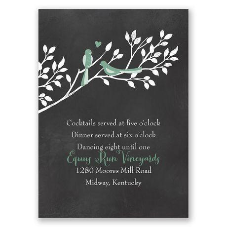 Chalkboard Lovebirds  Reception Card