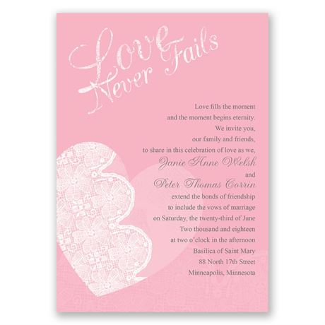 Lace Heart  Invitation with Free Response Postcard