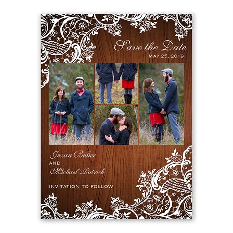 Lace Corners Save the Date Card