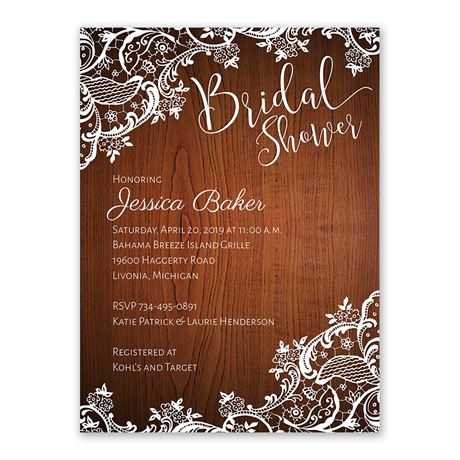 Lace Corners Bridal Shower Invitation