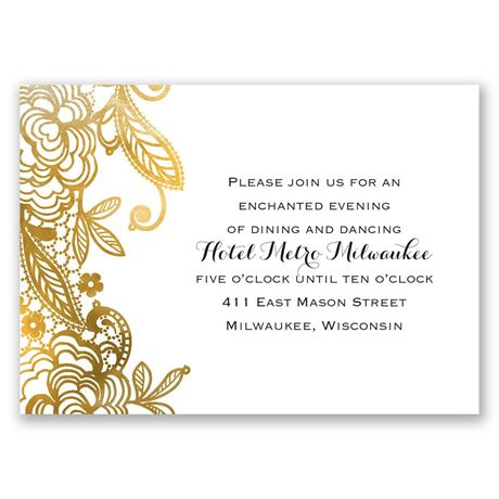 Gold Lace  Reception Card