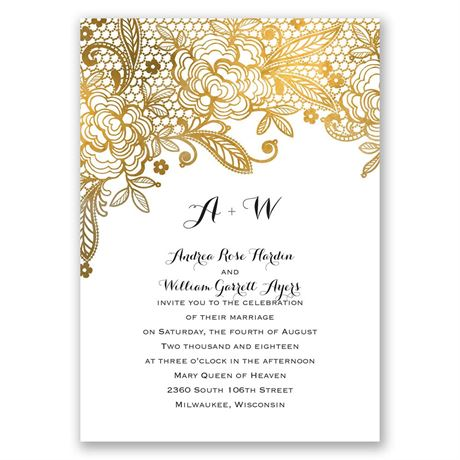 Gold Lace - Invitation with Free Response Postcard