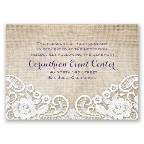 Burlap and Lace Frame  Reception Card