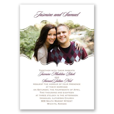 Sophisticated Frame  Invitation with Free Response Postcard