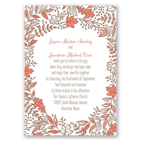 Leaf Menagerie  Invitation with Free Response Postcard