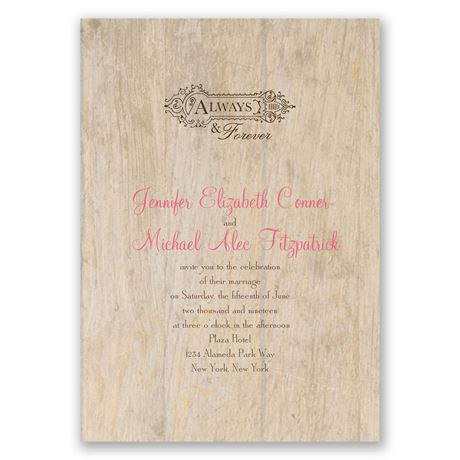 Woodgrain Beauty  Choose Your Design  Invitation with Free Response
