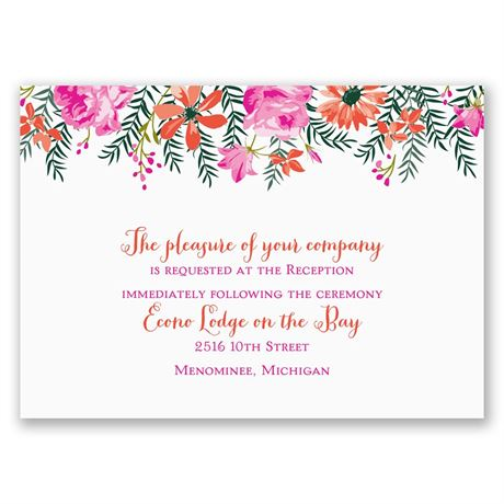 Watercolor Floral  Reception Card