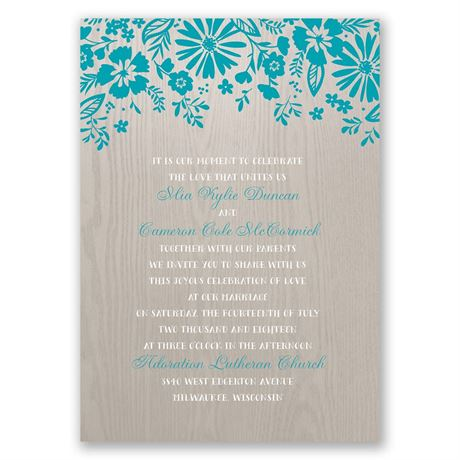 Modern Garden - Invitation with Free Response Postcard