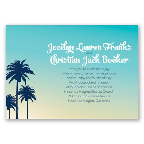 Palm Tree Silhouettes  Invitation with Free Response Postcard