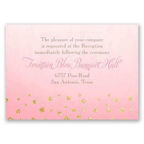 Gold Dust  Faux Glitter  Reception Card
