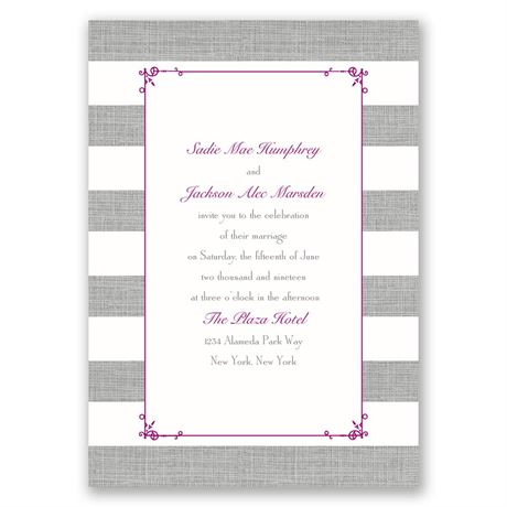 Bold Stripes  Invitation with Free Response Postcard