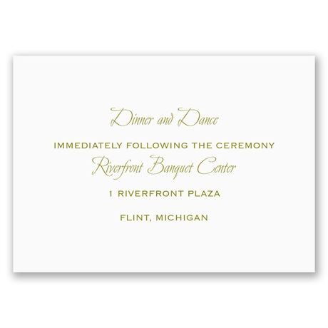 Sweet and Simple  Reception Card