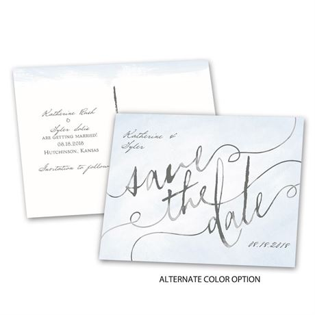 Watercolor Words - Save the Date Postcard