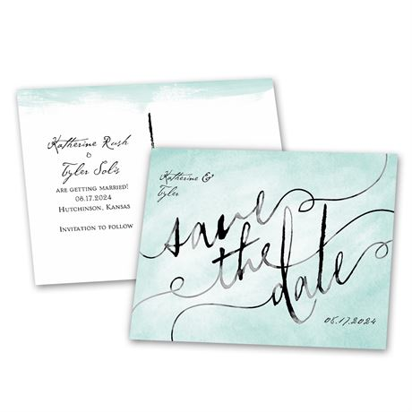 Watercolor Words  Save the Date Postcard