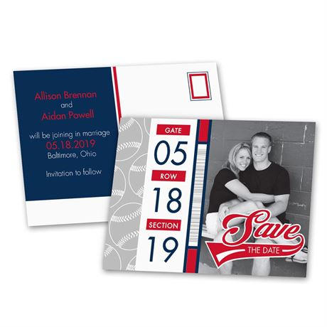 Baseball Fans  Save the Date Postcard