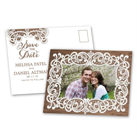 Lace Frame  Save the Date Postcard