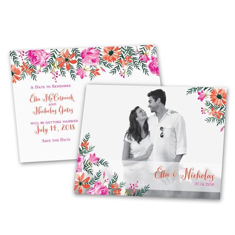 Watercolor Floral  Save the Date Postcard