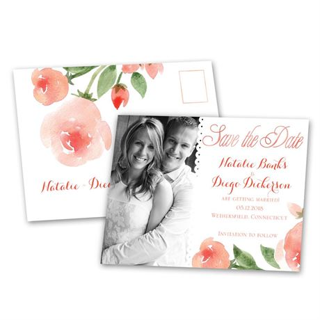 Within Reach - Posie Pink - Save the Date Postcard