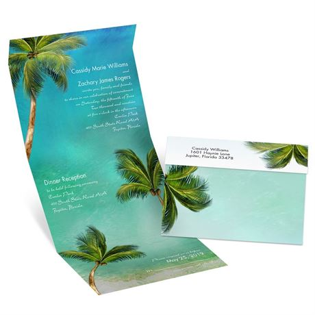 Watercolor Palm Trees - Seal and Send Invitation