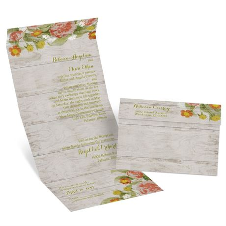 Shabby Chic Floral  Seal and Send Invitation