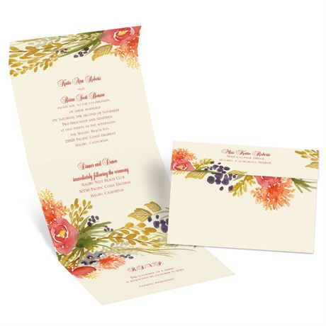 Fall Florals - Ecru - Seal and Send Invitation