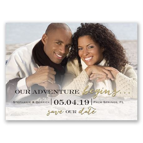 Next Adventure - Faux Gold Glitter - Save the Date Card