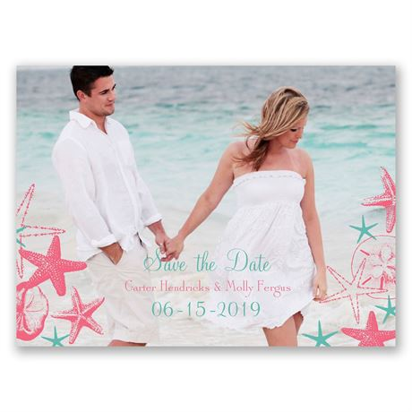 Seashell Border  Save the Date Card