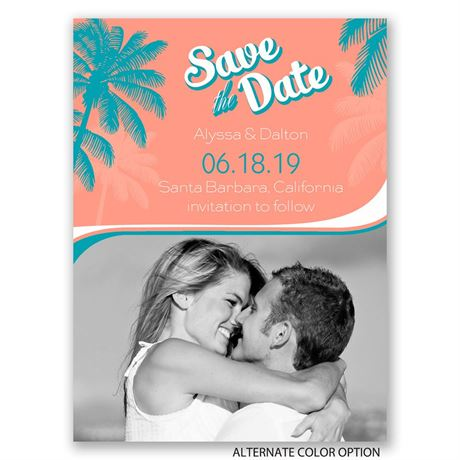 Retro Beach - Save the Date Card
