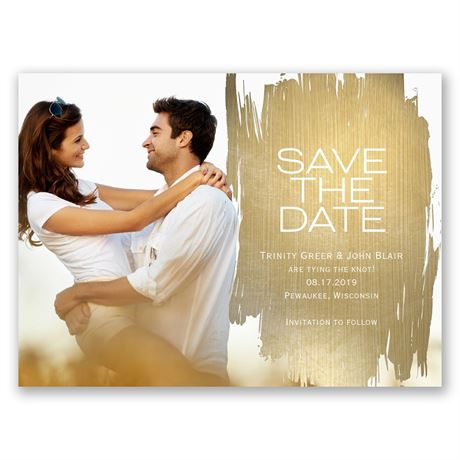 Brushed with Gold  Save the Date Card