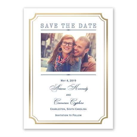 Gold Frame Save the Date Card