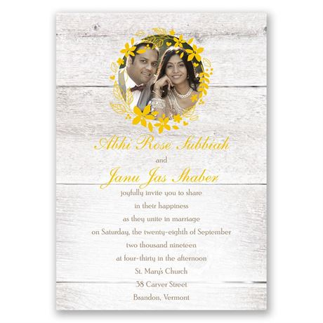 Country Floral - Invitation with Free Respond Postcard