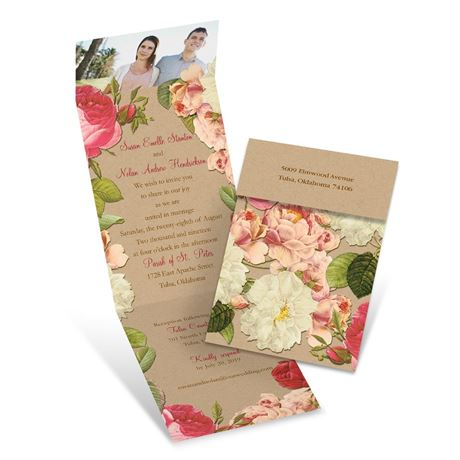 Vintage Floral  Invitation with Online Reply