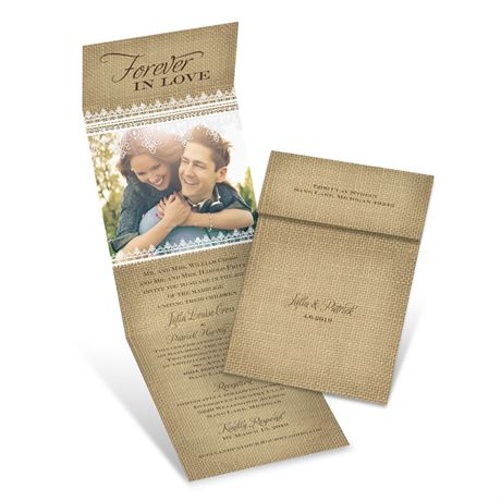 Burlap Love  Invitation with Online Reply