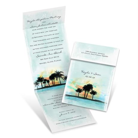 Watercolor Sunset  Invitation with Online Reply