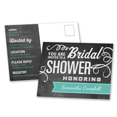Chalkboard Banner - Bridal Shower Postcard