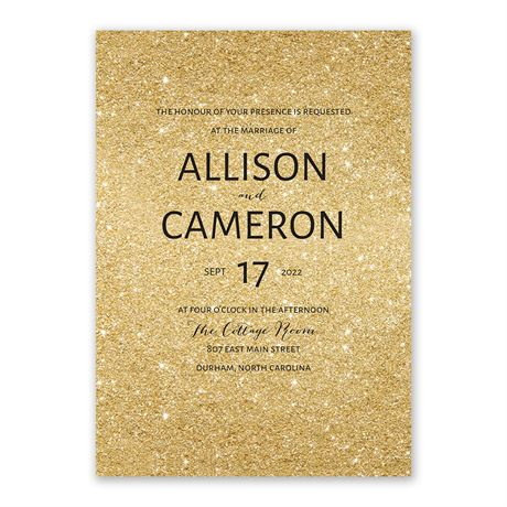 Glitter Illusion - Gold - Invitation with Free Response Postcard