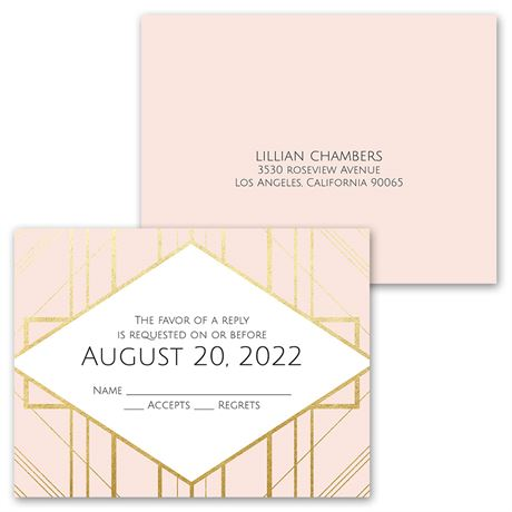 Art Deco Shine - Invitation with Free Respond Postcard