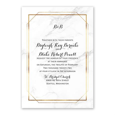 Marble Frame Invitation with Free Response Postcard