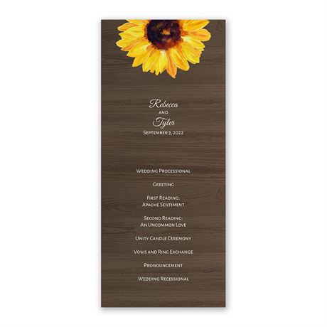 Country Sunflowers - Wedding Program