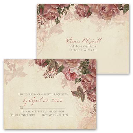 Vintage Roses - Invitation with Free Response Postcard