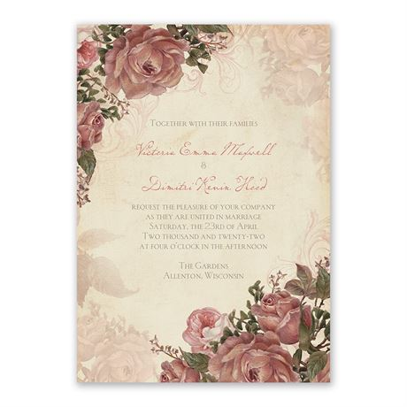 Vintage Roses Invitation with Free Response Postcard
