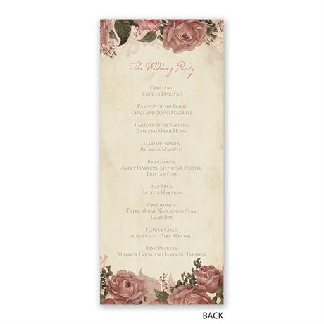 Vintage Roses - Wedding Program