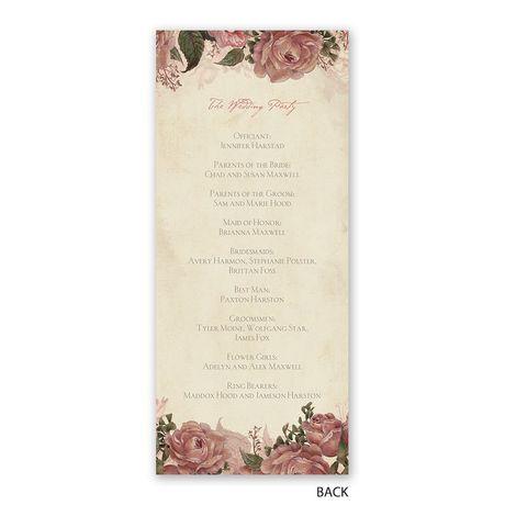 Vintage Roses - Wedding Program