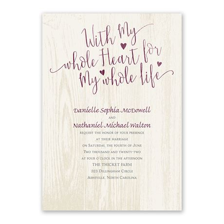My Whole Heart - Invitation with Free Response Postcard