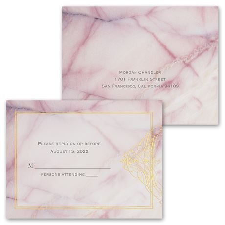 Rose Quartz - Invitation with Free Response Postcard