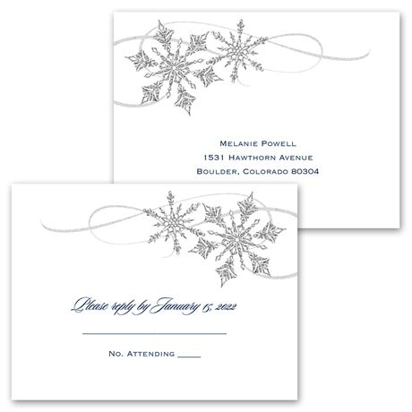 Snowflake Sparkle - Invitation with Free Respond Postcard
