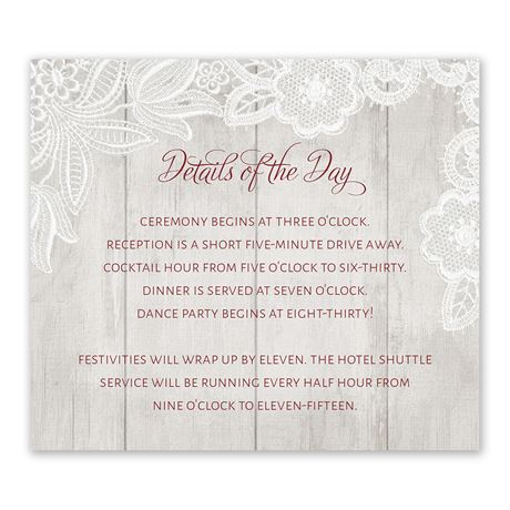 Weathered Lace - Information Card