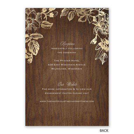Gold Magnolias - Invitation with Free Response Postcard