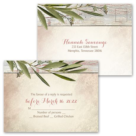 Country Greenery - Invitation with Free Response Postcard